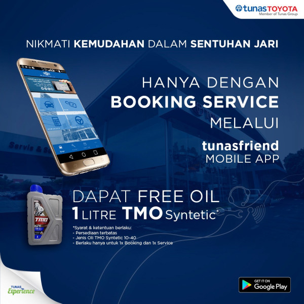 Banner - Free Oil Booking Service Mobile apps - Tunas Toyota